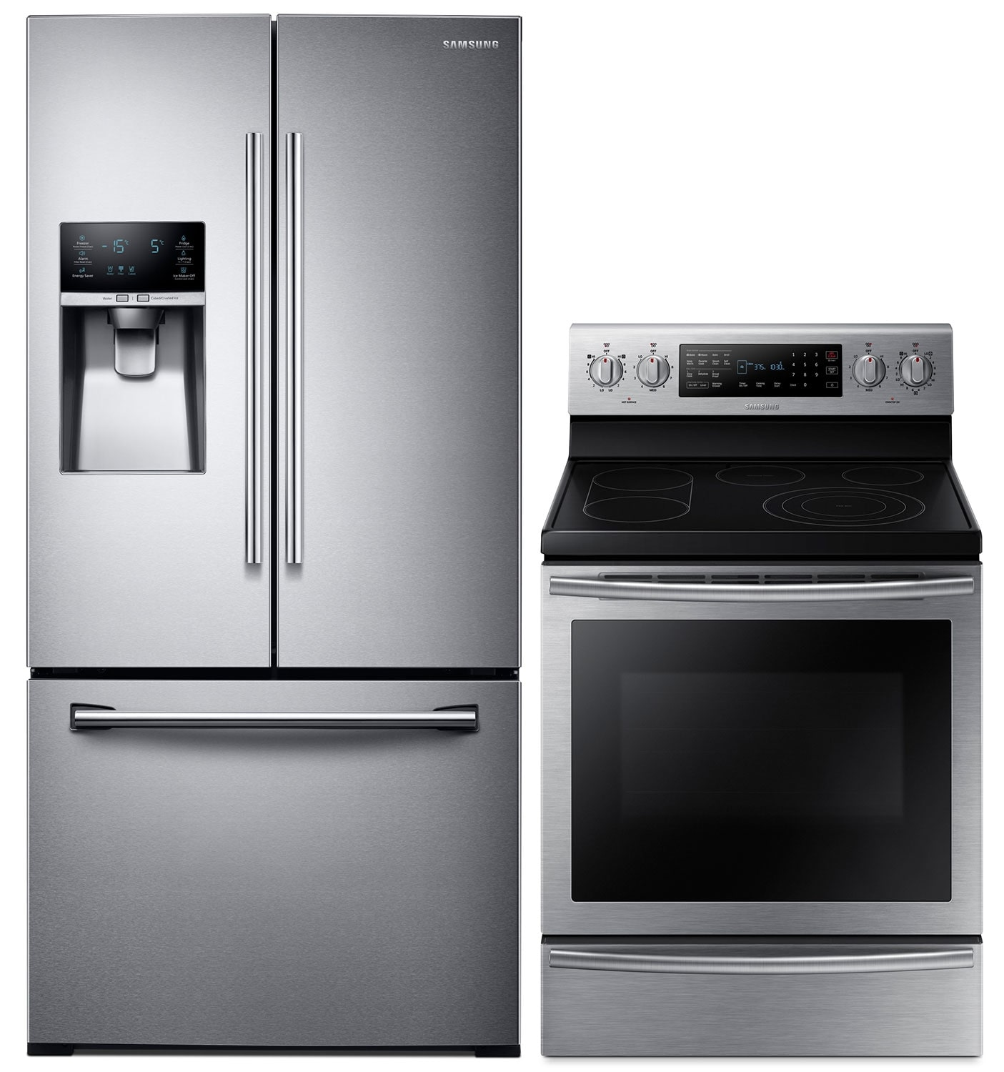 Cooking Products - Samsung 25.5 Cu. Ft. Refrigerator and 5.9 Cu. Ft. Range - Stainless Steel