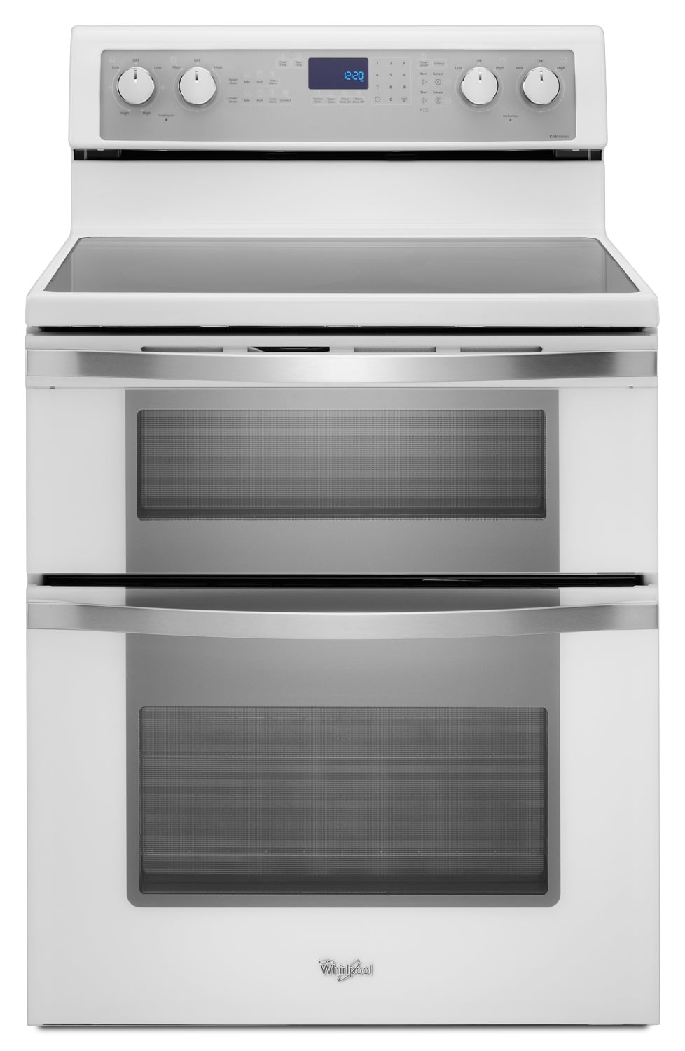 [Whirlpool White Ice Freestanding Double Electric Range (6.7 Cu. Ft.) - YWGE755C0BH]