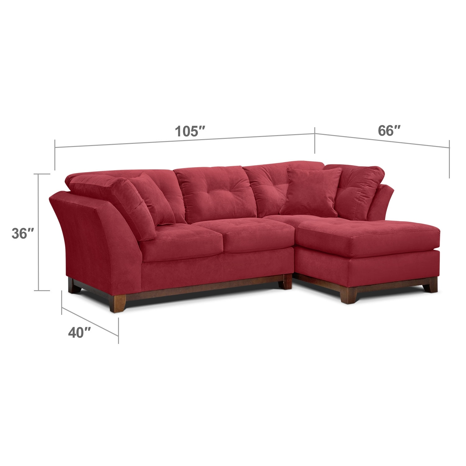Living Room Furniture - Brookside II Poppy 2 Pc. Sectional (Alternate Reverse)