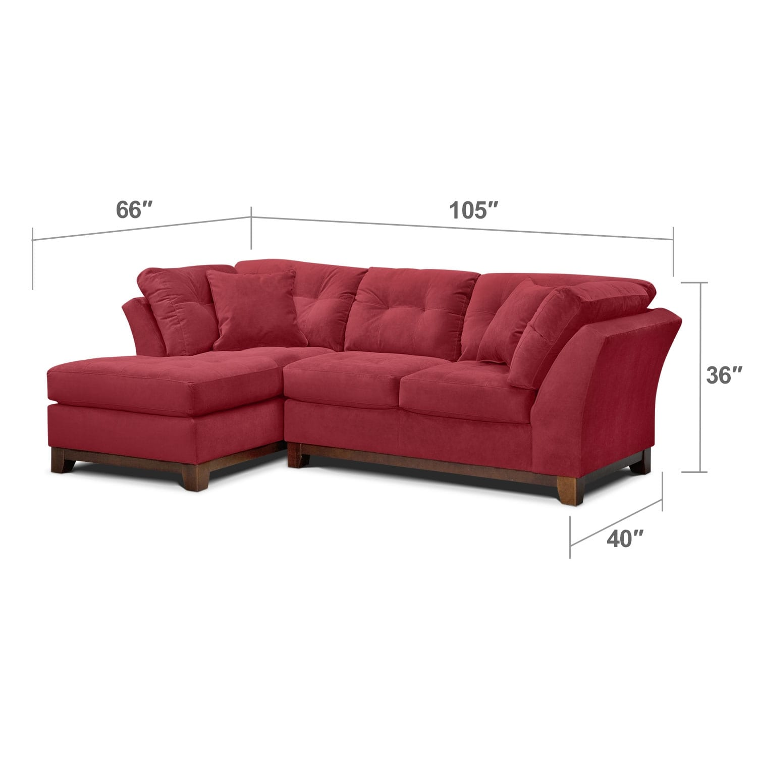 Living Room Furniture - Brookside II Poppy 2 Pc. Sectional (Alternate)