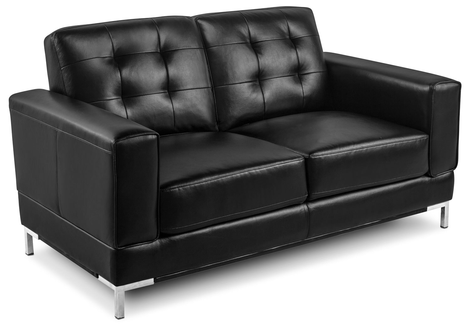 Myer leather look fabric sofa black the brick for Black fabric couches