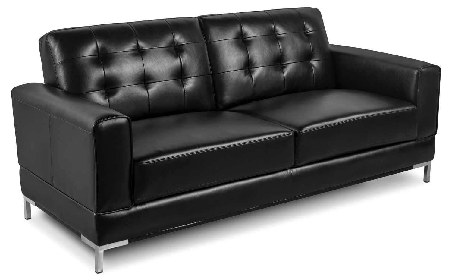 Living Room Furniture - Myer Leather-Look Fabric Sofa - Black