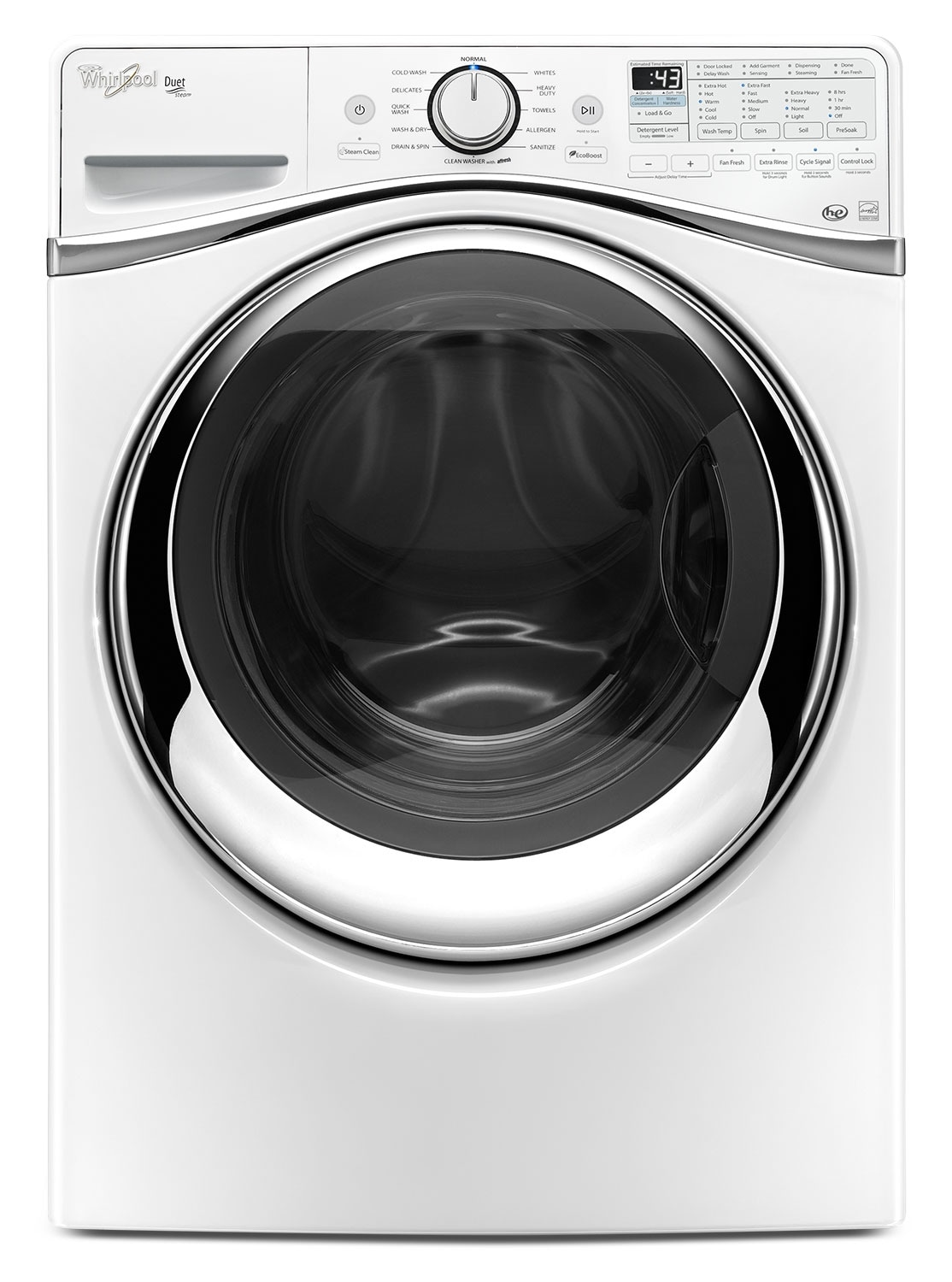 Washers and Dryers - Whirlpool White Front-Load Washer (5.2 Cu. Ft. IEC) - WFW97HEDW
