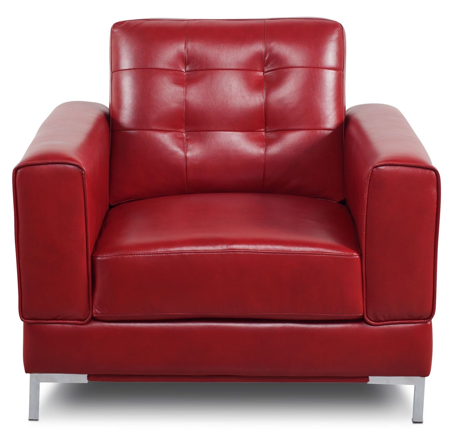 Living Room Furniture - Myer Leather-Look Fabric Chair - Red