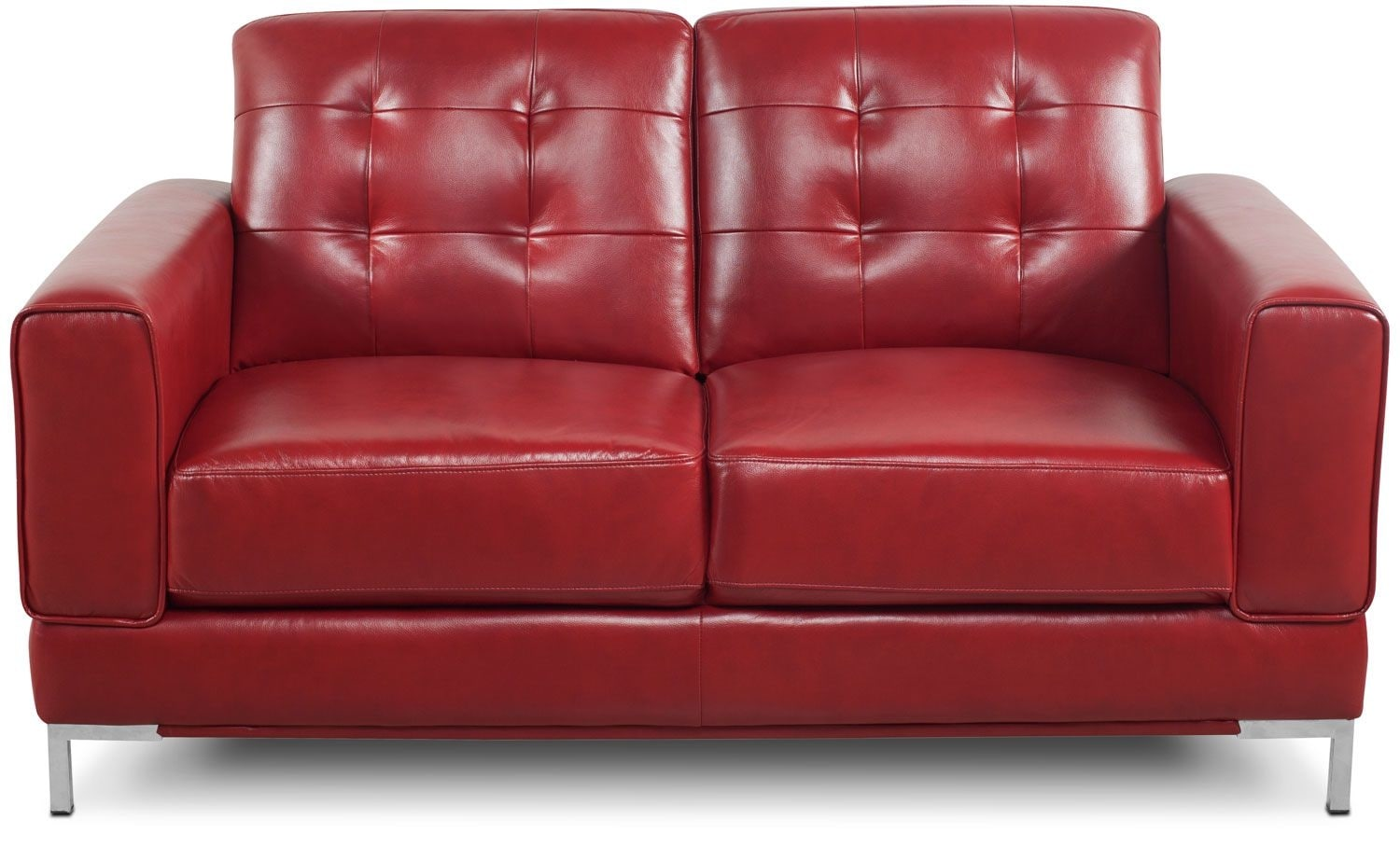 Living Room Furniture - Myer Leather-Like Fabric Loveseat - Red