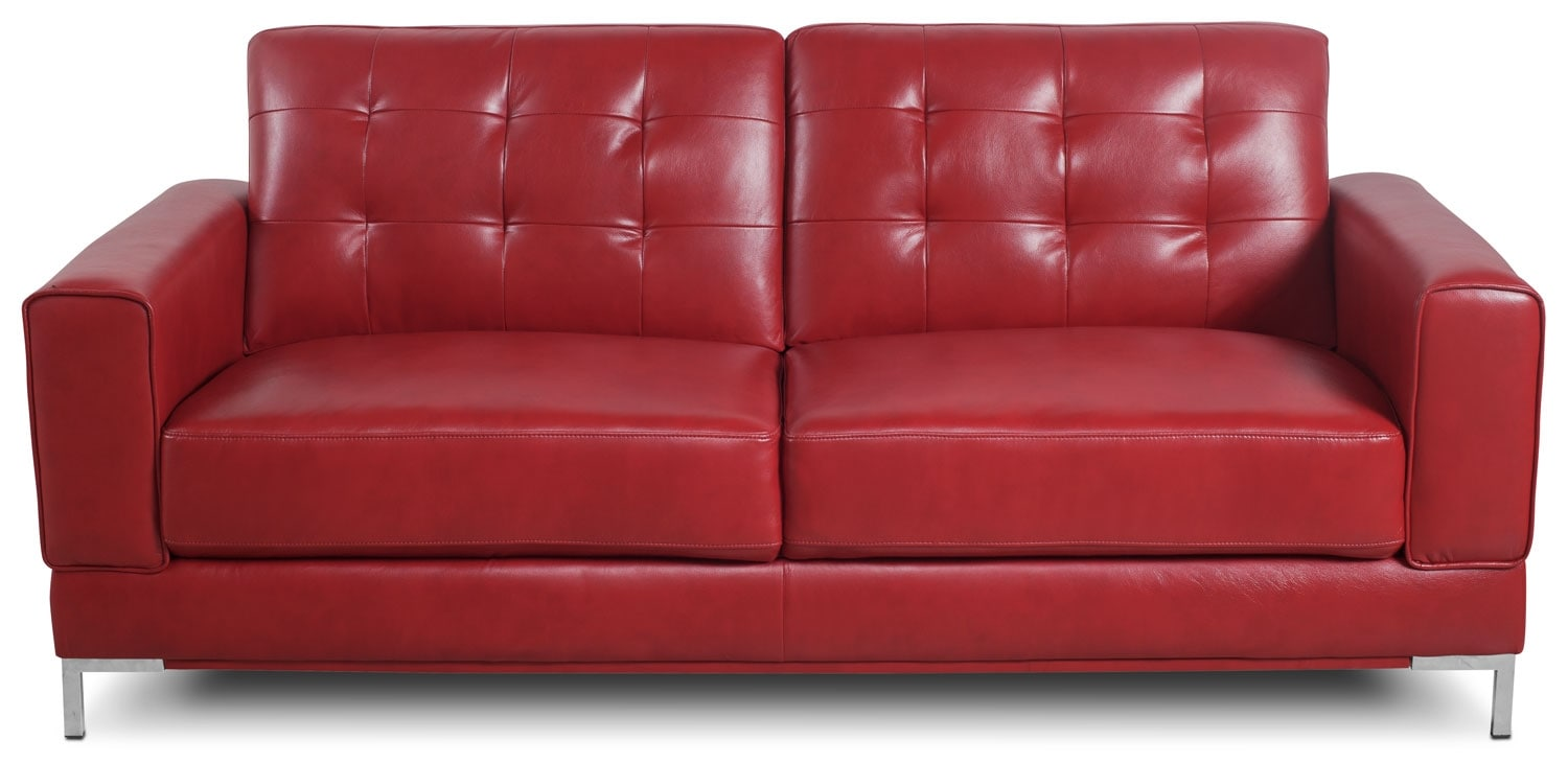 Living Room Furniture - Myer Leather-Look Fabric Sofa - Red