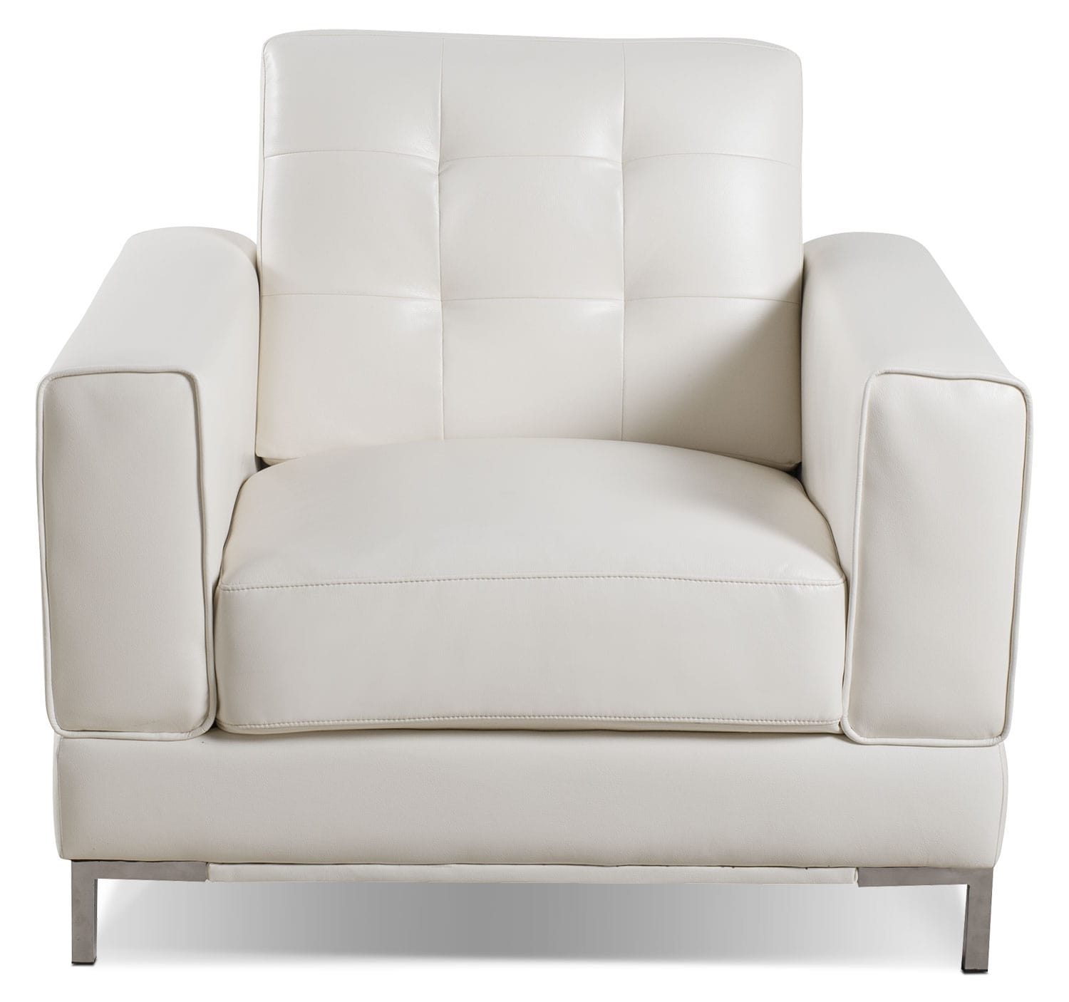 Living Room Furniture - Myer Leather-Look Fabric Chair - Cream