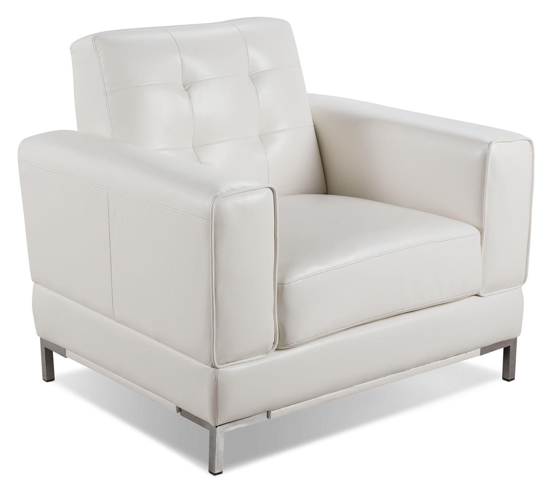 Mobilier de salle de séjour - Fauteuil Myer en tissu d'apparence cuir - crème