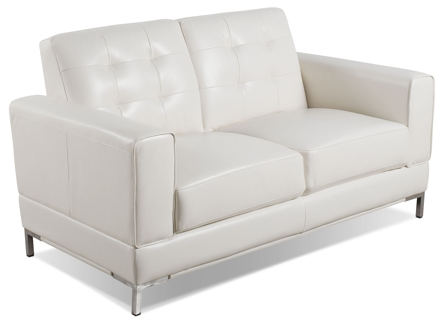 Myer Leather Look Fabric Loveseat Cream United Furniture Warehouse