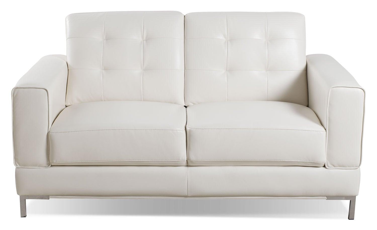 Myer leather look fabric loveseat cream the brick - Living room with cream leather sofa ...