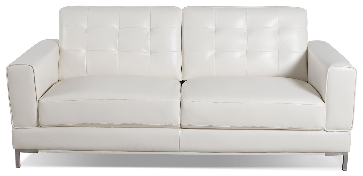 Myer leather look fabric sofa cream the brick for Black fabric couches