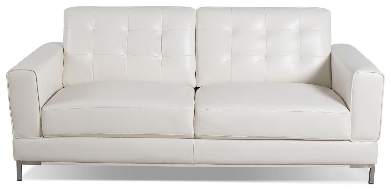 Myer leather look fabric sofa cream the brick for Cream leather sofa