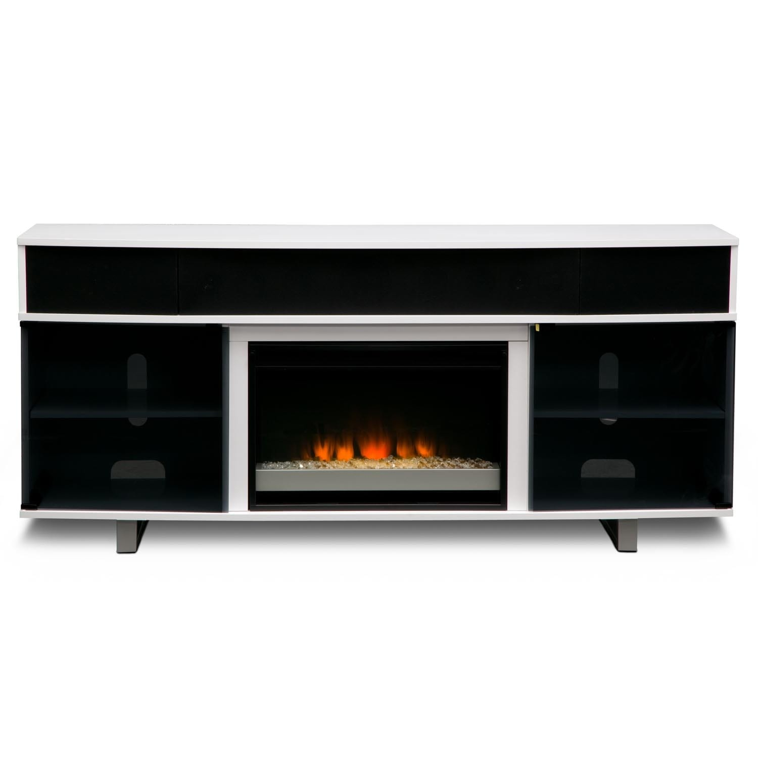 Pacer 72 Contemporary Fireplace Tv Stand With Sound Bar White Value City Furniture