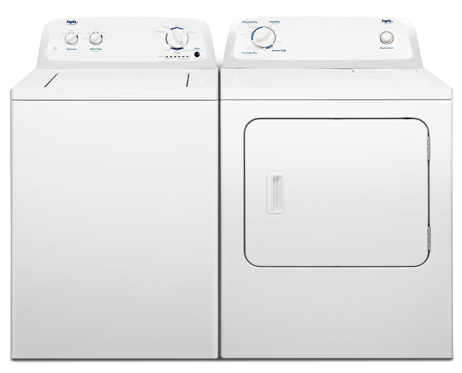 Washers and Dryers - Inglis 4.1 Cu. Ft. Top-Load Washer and 6.5 Cu. Ft. Electric Dryer - White