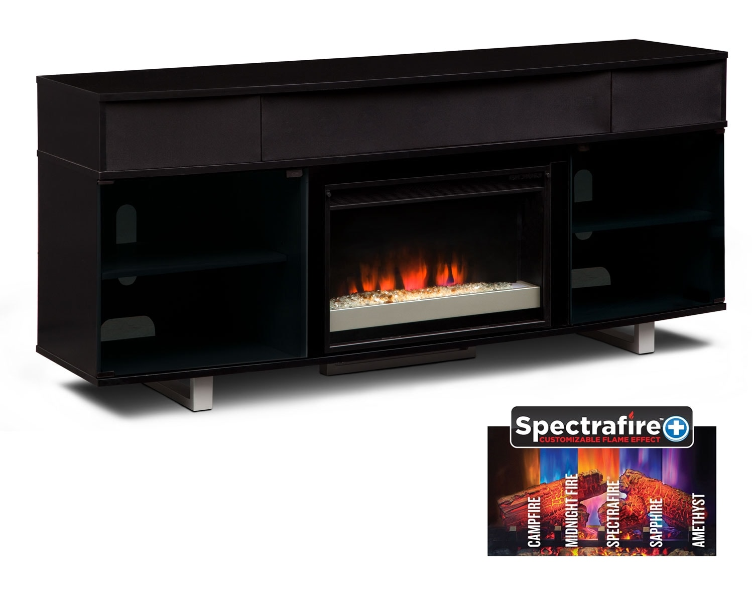 [The Pacer Black Media Fireplace Collection]