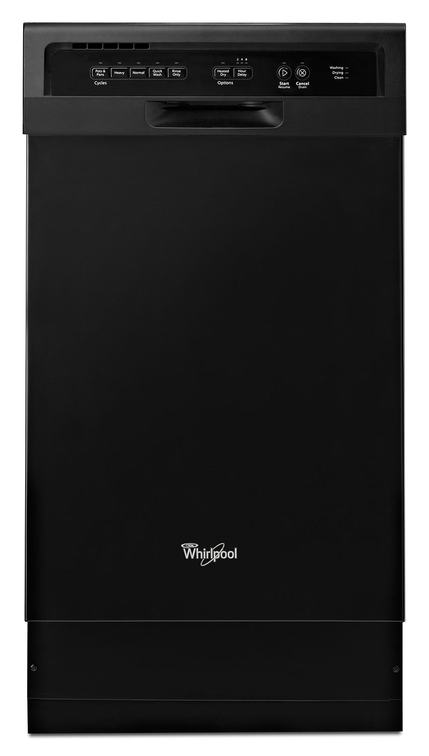 "Clean-Up - Whirlpool Black 18"" Dishwasher - WDF518SAAB"