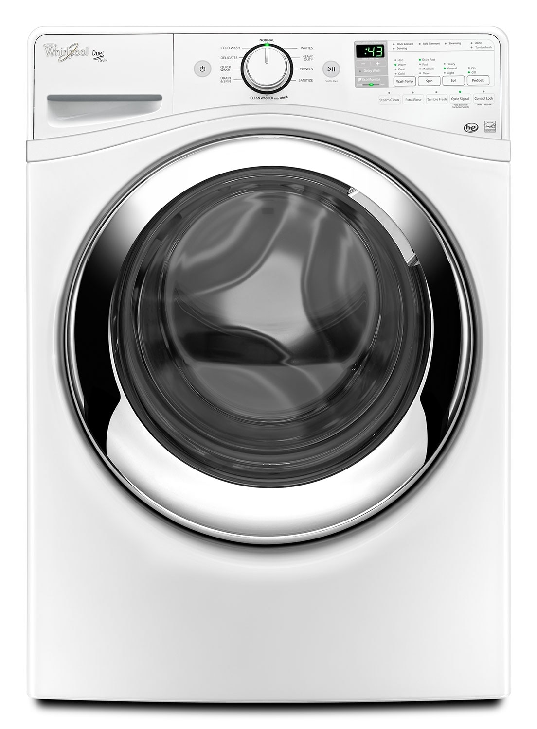 Washers and Dryers - Whirlpool White Front-Load Washer (5.0 Cu. Ft. IEC) - WFW87HEDW
