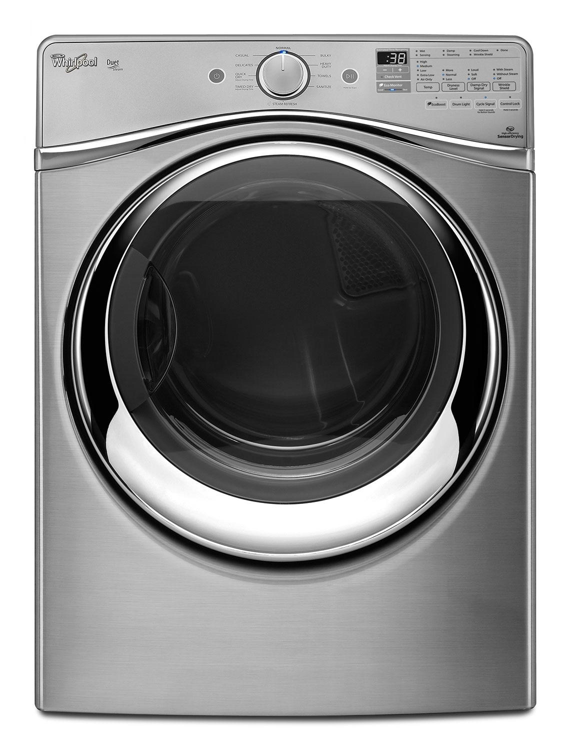 Washers and Dryers - Whirlpool Diamond Steel Gas Dryer (7.3 Cu. Ft.) - WGD95HEDU