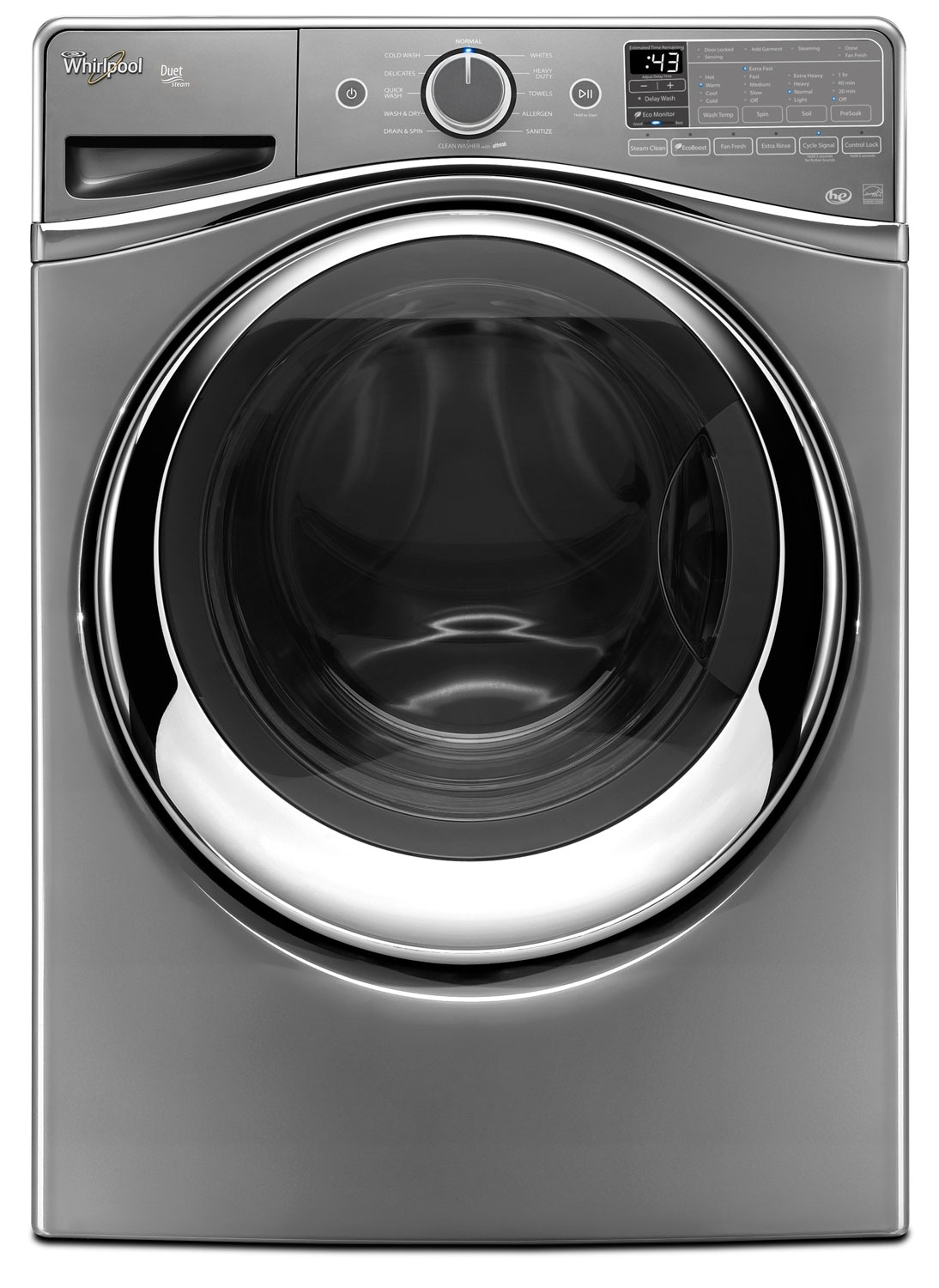 Washers and Dryers - Whirlpool Chrome Shadow Front-Load Washer (5.2 Cu. Ft. IEC) - WFW95HEDC
