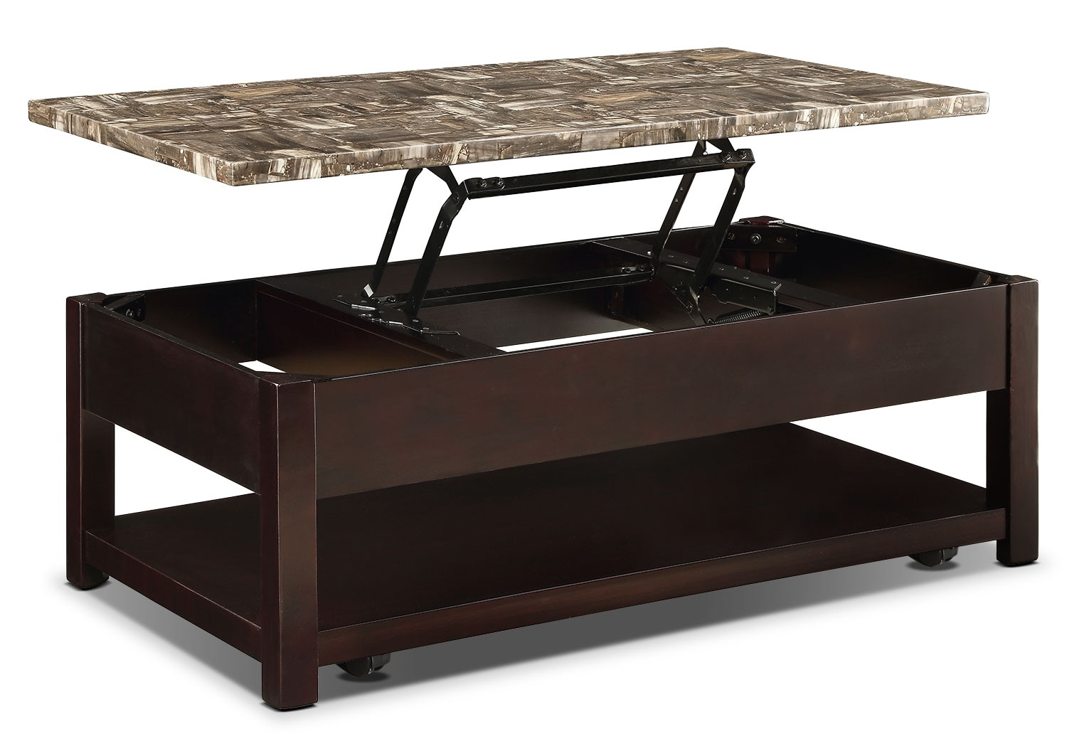 Sicily Coffee Table with Lift-Top and Casters – Brown