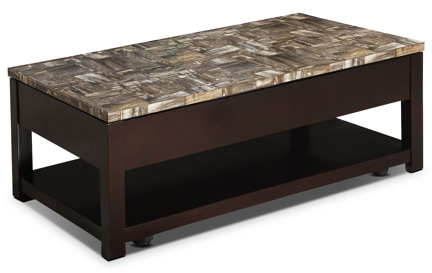 Sicily coffee table with lift top and casters brown united furniture warehouse Coffee tables with casters