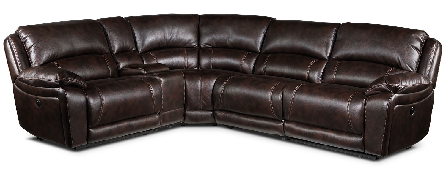 Santorini 5-Piece Power Reclining Sectional - Walnut