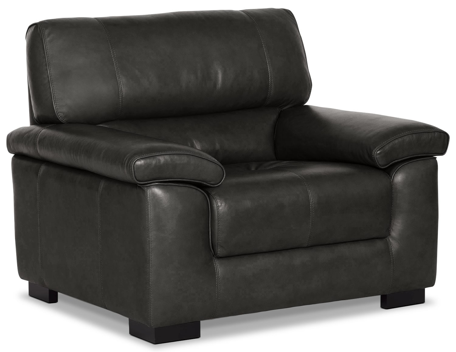 Living Room Furniture - Chateau d'Ax 100% Genuine Leather Chair - Charcoal