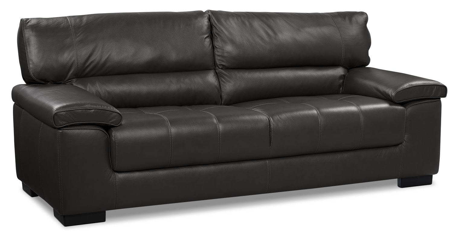 Chateau D Ax 100 Genuine Leather Sofa Charcoal The Brick