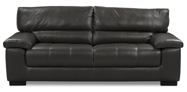 Chateau d'Ax 100% Genuine Leather Sofa - Charcoal  United Furniture ...