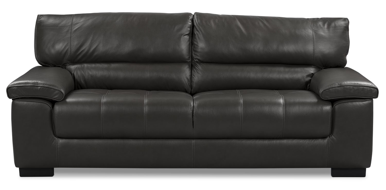 Chateau d'Ax 100% Genuine Leather Sofa - Charcoal