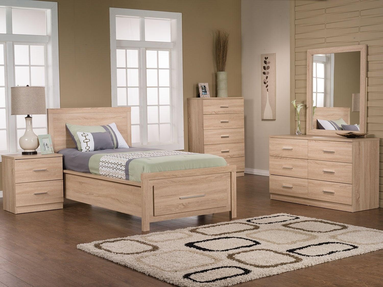 Ensemble de chambre à coucher Sierra 6 pièces avec lit simple