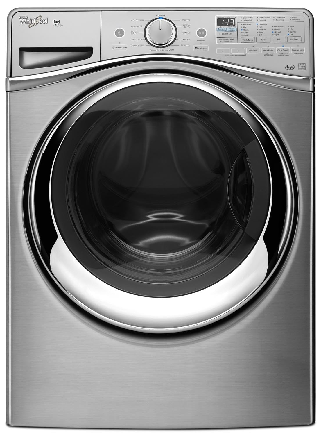 Washers and Dryers - Whirlpool Diamond Steel Front-Load Washer (5.2 Cu. Ft. IEC) - WFW97HEDU