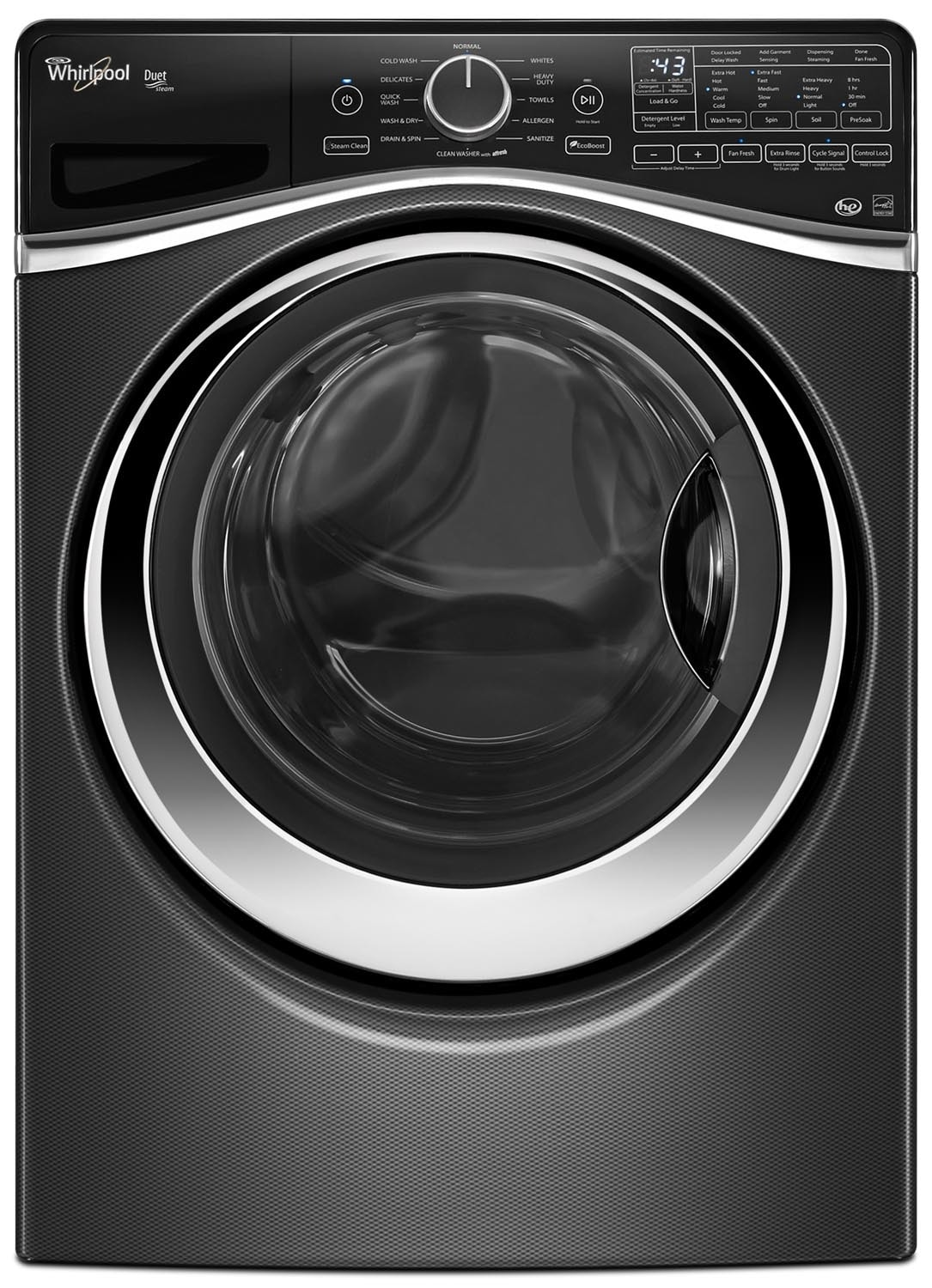 Washers and Dryers - Whirlpool Black Diamond Front-Load Washer (5.2 Cu. Ft. IEC) - WFW97HEDBD