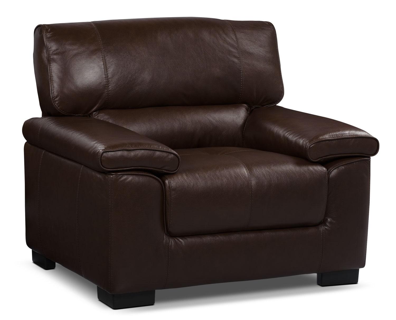 Chateau D'Ax 100% Genuine Leather Sofa - Dark Brown