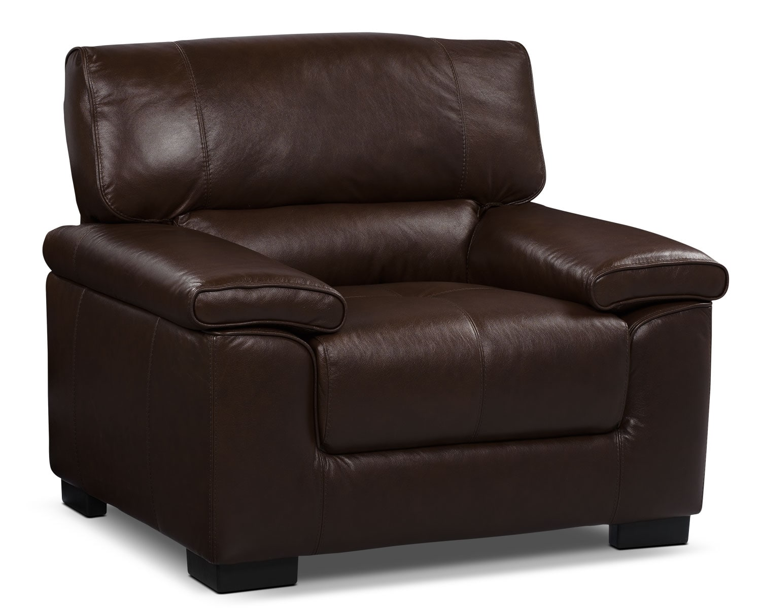 Living Room Furniture - Chateau d'Ax 100% Genuine Leather Chair - Dark Brown