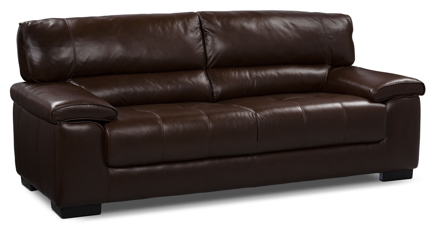 Living Room Furniture - Chateau d'Ax 100% Genuine Leather Sofa - Dark Brown
