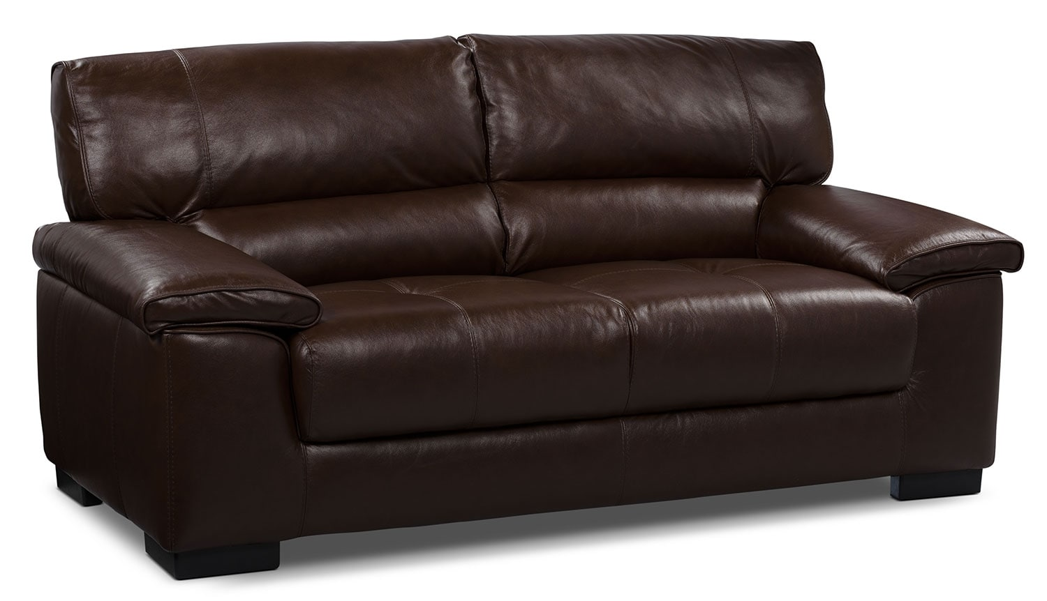 Chateau d'Ax 100% Genuine Leather Loveseat - Dark Brown