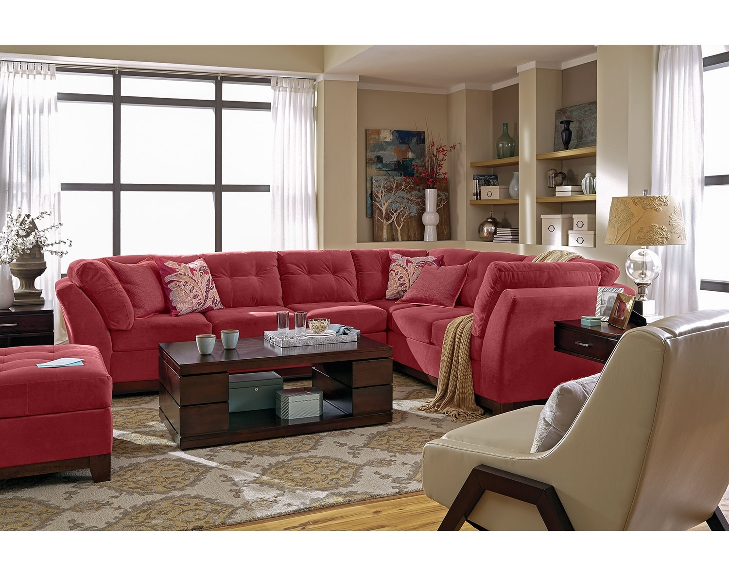 Living Room Furniture - The Brookside II Poppy Collection - 3 Pc. Sectional