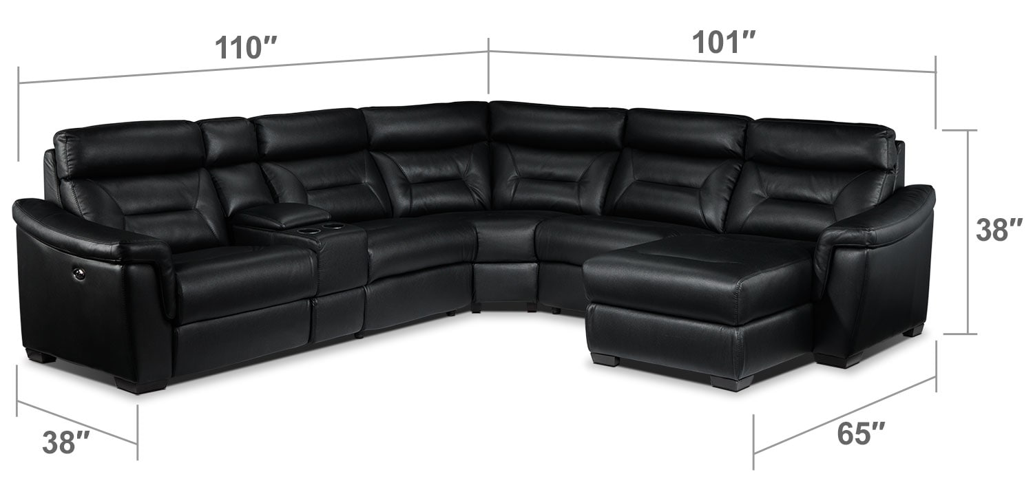 Living Room Furniture - Wexler 6. Pc. Sectional - Black