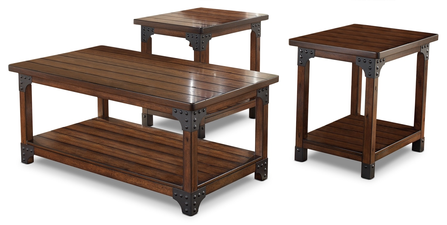 Murphy 3 piece coffee and two end tables package the brick for 2 piece furniture set