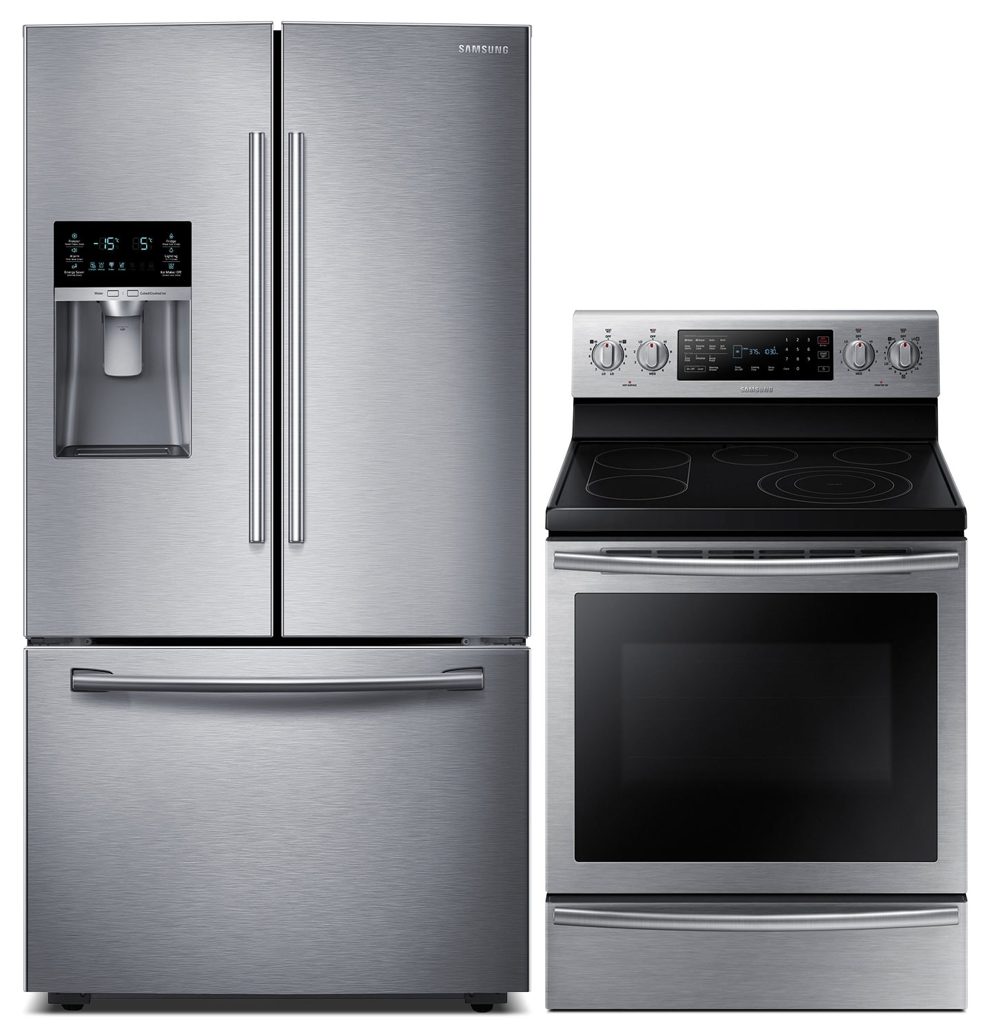 Cooking Products - Samsung 28 Cu. Ft. Refrigerator and 5.9 Cu. Ft. Range - Stainless Steel