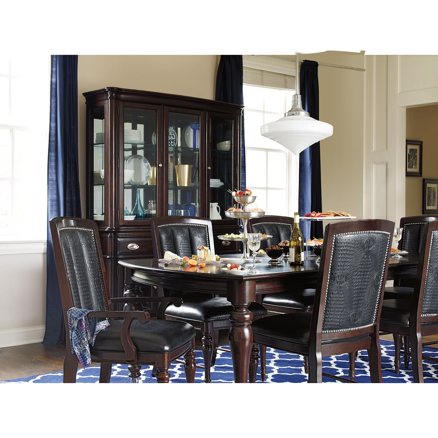 City Furniture Dining Room: Esquire Table And 6 Chairs - Cherry