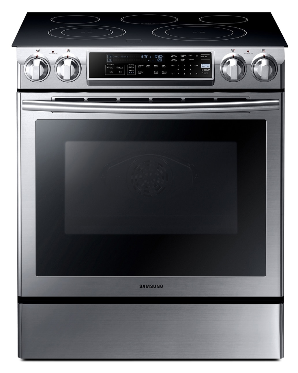 [Samsung Stainless Steel Electric Slide-In Range (5.8 Cu. Ft.) - NE58F9500SS]