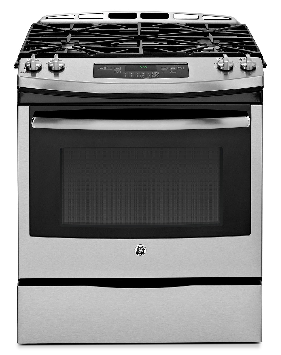 Cooking Products - GE Stainless Steel Slide-In Gas Range (5.4 Cu. Ft.) - JCGS650SEFSS
