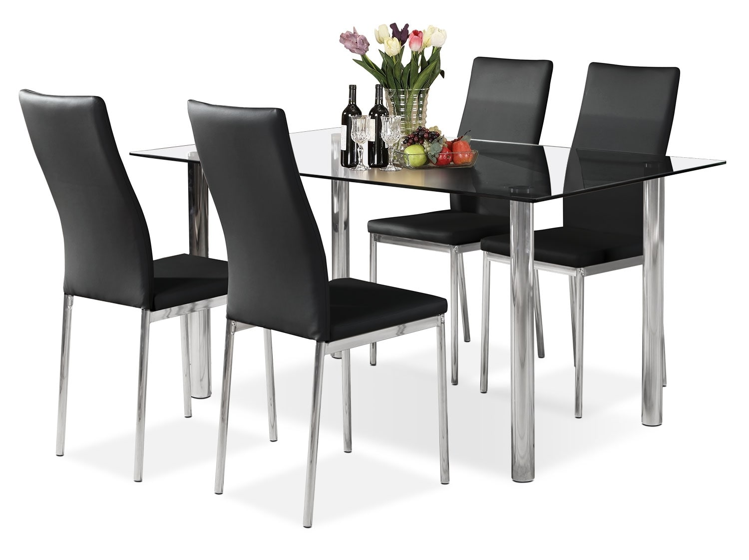 Dining Room Furniture - Koda 5-Piece Dining Package – Black