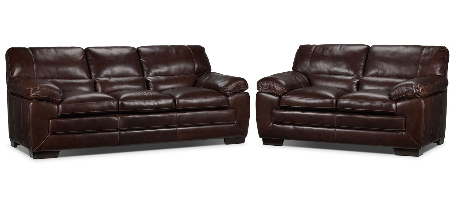 Amarillo Sofa and Loveseat Set - Brown