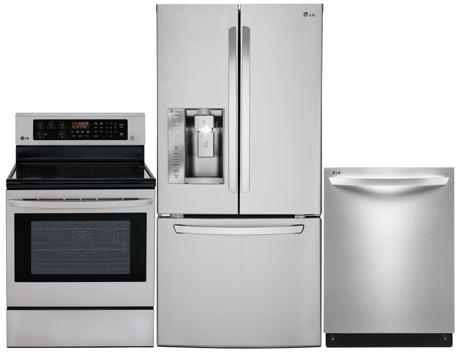 Clean-Up - LG 24.2 Cu. Ft. Refrigerator, 6.3 Cu. Ft. Electric Range and Built-In Dishwasher
