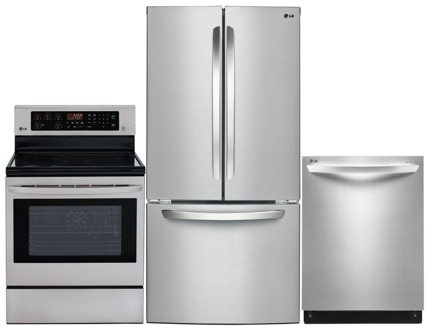 Clean-Up - LG 24 Cu. Ft. Refrigerator, 6.3 Cu. Ft. Electric Range and Built-In Dishwasher
