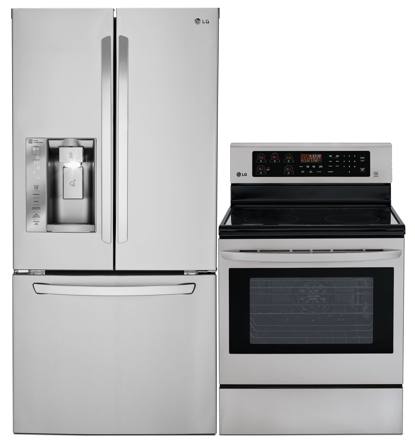 Cooking Products - LG 24.2 Cu. Ft. French Door Refrigerator and 6.3 Cu. Ft. Electric Range