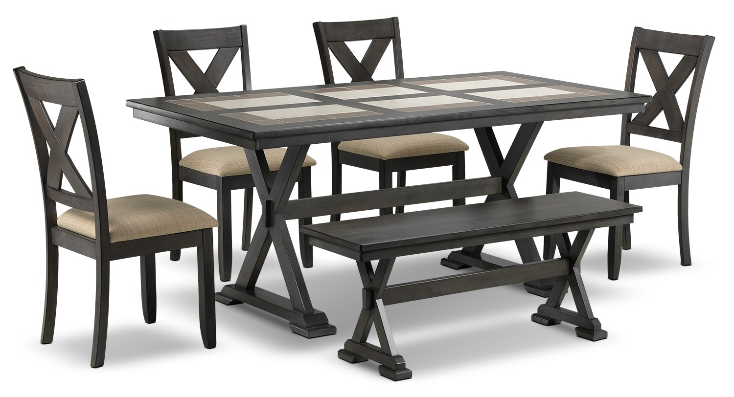 Dining Room Furniture - Oscar 6-Piece Dining Room Set - Grey